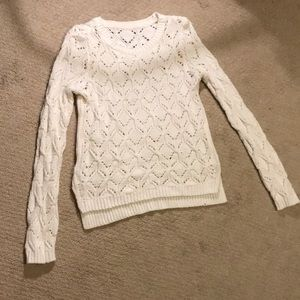 Tops - NWOT White Cable Knit Sweater Size XS